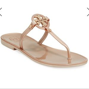 Size 7 Tory Burch Rose Gold Jelly Miller Sandals